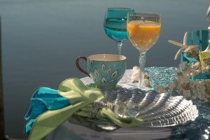 peacock tea cup and seashell place setting