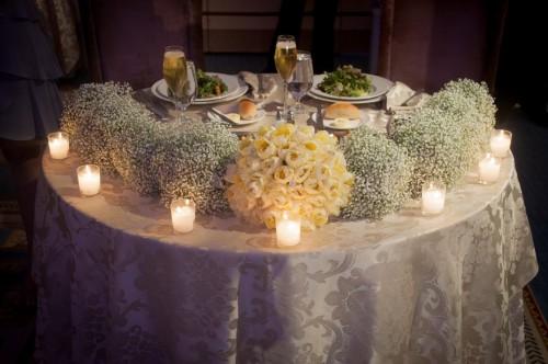table setting yellow purple grey