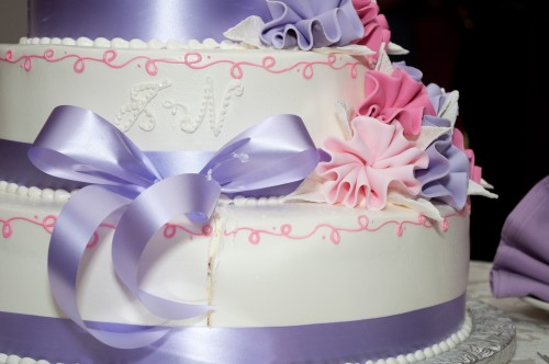 white purple lavender pink wedding cake