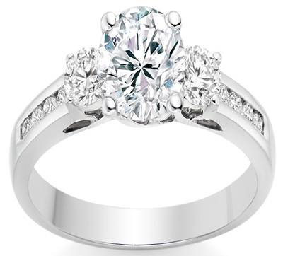 Round Cut 0.85 Carat Three Stone Engagement Ring in Platinum, £2,915