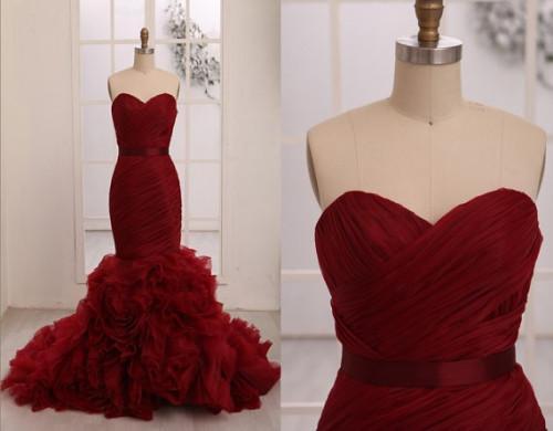 Marsala colored wedding dresses