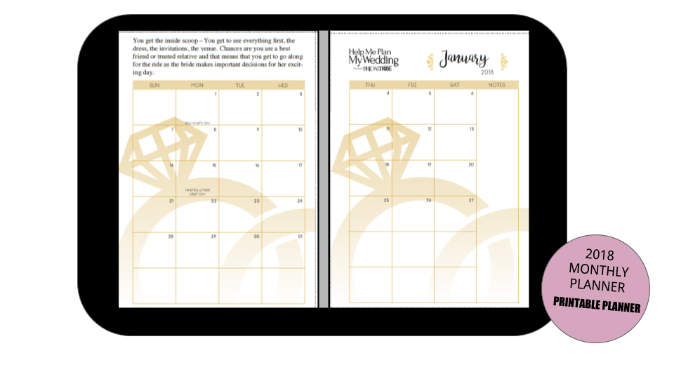 picture regarding Maid of Honor Printable Planner named 2018 Maid of Honor Regular Planner 2 Site